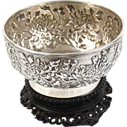 Chinese Export Silver Footed Presentation Bowl On Hardwood Stand By Wang Hing Ca 1890