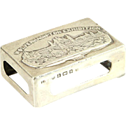 Edwardian Novelty Sterling Silver Matchbox Holder L. Bennet & Co, Birmingham, England, 1902.