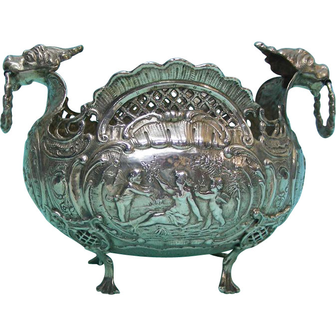 Rare 18th Century German Silver Bowl, Augsburg, Germany.