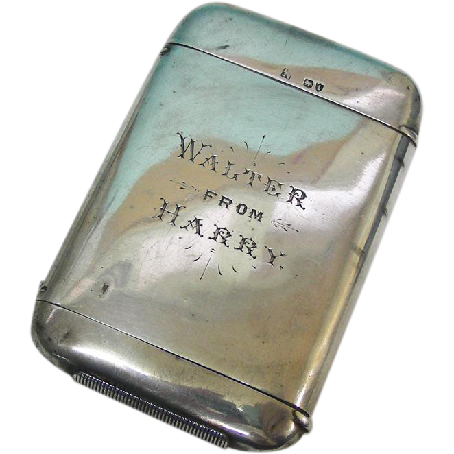 Sterling Silver Combined Cigarette & Vesta Case By Hall & Goode, London, England, 1884