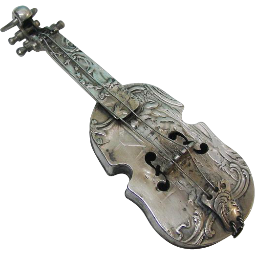 Novelty Antique Dutch Silver Miniature Cello, Netherlands, Ca 1850