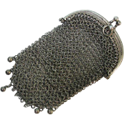French Export Silver Double Compartment Mesh Purse Ca 1870