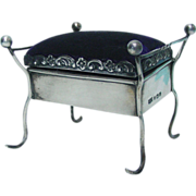 Sterling Silver Piano Stool Pin Cushion, Clark & Sewell, Birmingham, England, 1909.