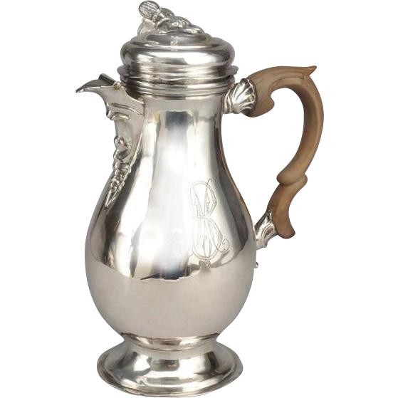 Rare Antique German Silver Tea Coffee Pot By Jakob Wilhelm Kolb Augsburg 1773-1775.