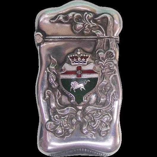 Art Nouveau Sterling Silver & Enamel Vesta Case By Roden Bros Toronto Canada Ca 1900
