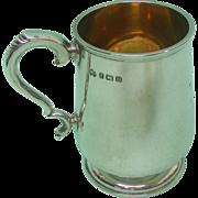 Elkington & Co Sterling Silver Tankard Mug, Birmingham, England, 1911.