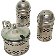 Sterling Silver 3pcs Condiment Set By A C Bloxham London England 1934.