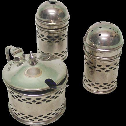 Sterling Silver 3pcs Condiment Set By A C Bloxham London England 1934.