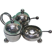 English Silver Plated Condiment Set By Robert Pringle, London, England, Ca 1900