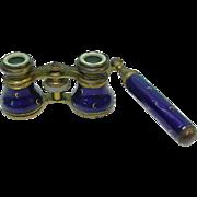 French Brass, Enamel & Mother Of Pearl Opera Glasses Binoculars, Circa 1870.
