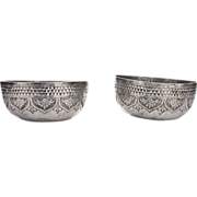 Pair Of Indian Silver Tumbler Bowls Kutch Madras Ca 1870