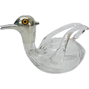 Novelty Sterling Silver Glass Duck Liqueur Decanter By Heath & Middleton London England 1904.