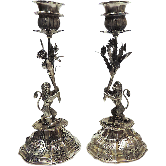 Rare Antique Pair Of Silver Sabbath Candlesticks, Germany, Circa 1840, Judaica.
