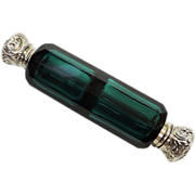 Emerald Glass Mounted Silver Double Ended Scent Bottle