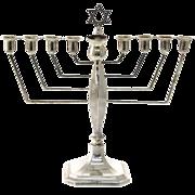 Sterling Silver Hanukkah Menorah By Alexander Smith, Birmingham, England, 1964, Judaica.