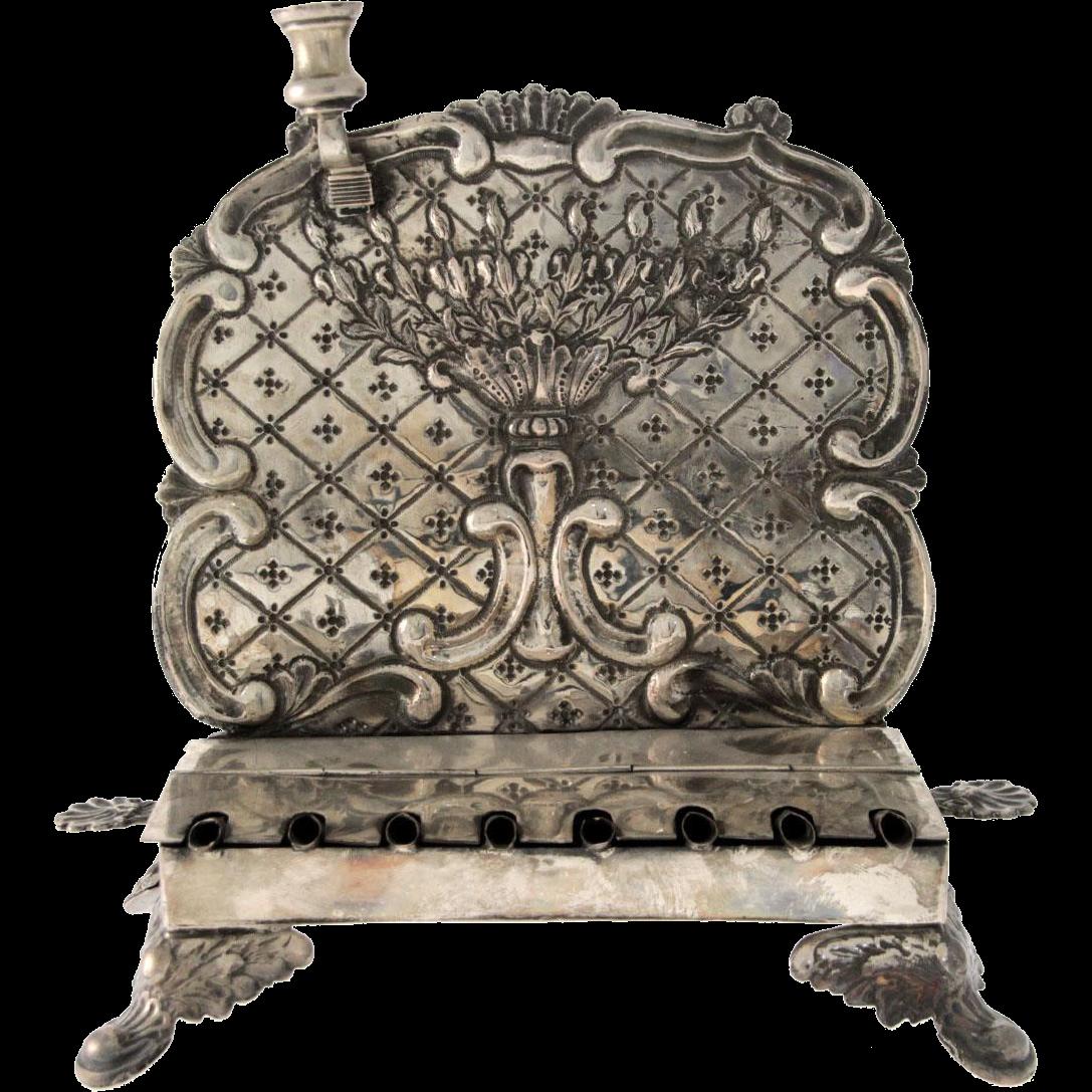 Rare Silver Hanukkah Menorah, Krutsche, Breslau, Germany, 1849-1861, Judaica.