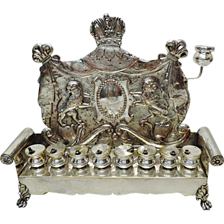 Rare WMF Silver Plated Hanukkah Lamp Menorah, Germany, Circa 1890, Judaica.