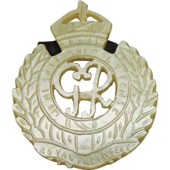Antique Mother Of Pearl Royal Engineers Badge Brooch, Palestine, 1930's.