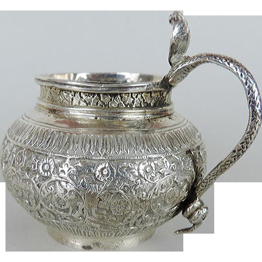 Indian Silver Milk Jug Creamer, Kashmir, Circa 1900.