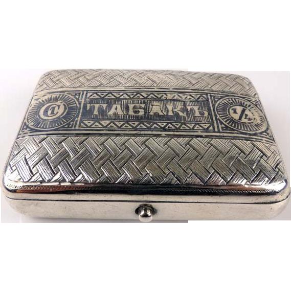 Russian Silver & Niello Trompe L'oeil Cigarette Case, Moscow, 1895
