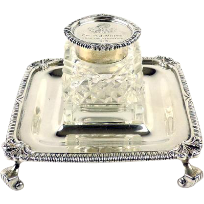 Artists Rifles Volunteers Interest - Sterling Silver Desk Inkwell Goldsmiths & Silversmiths 1917
