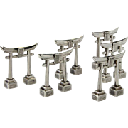Novelty Set Of 6 Japanese Silver Torii Gate Menu Card Holders, Circa 1920.
