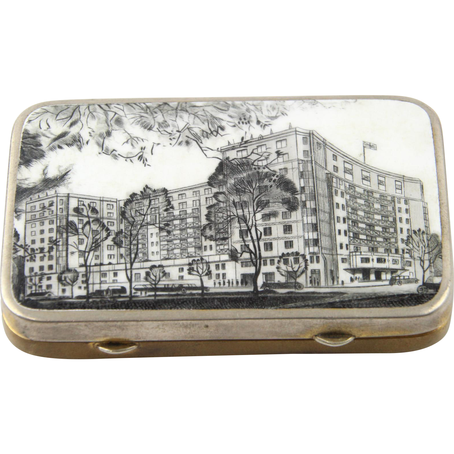 The Dorchester London English Gilt Metal And Enamel Snuff Box, 1940s