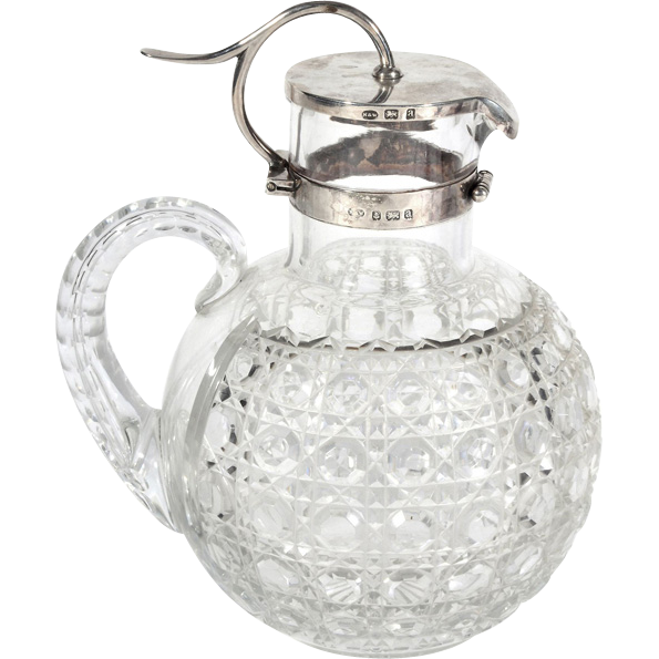 Victorian Sterling Silver Mounted Crystal Claret Jug, Norton & White, Birmingham, England, 1900.