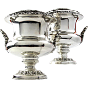 Pair Of Old Sheffield Plate Twin Handled Champagne Wine Coolers, England, 1805-1810