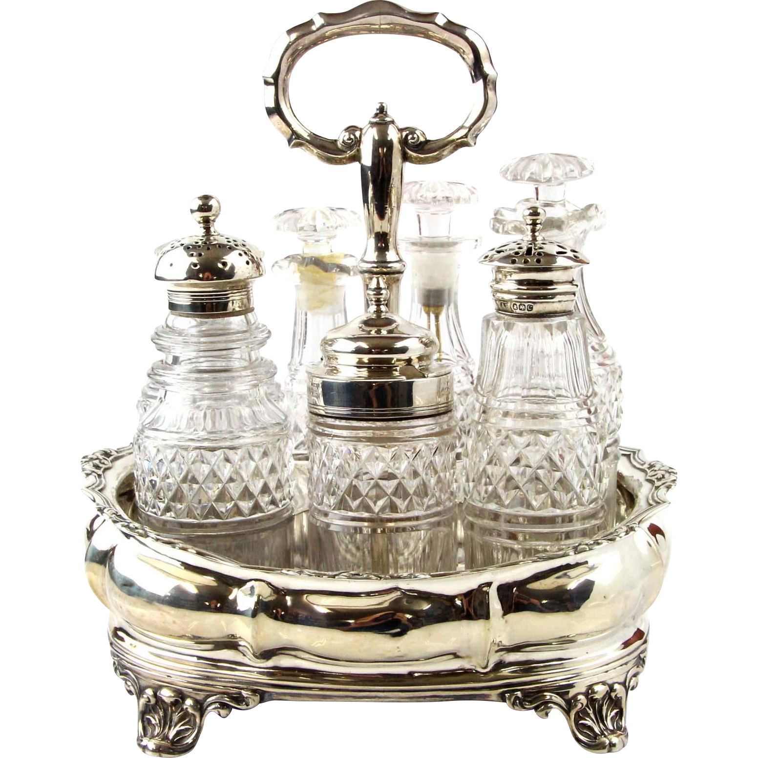 Sterling Silver Cruet Set By Joseph & John Angell, London, England, 1834