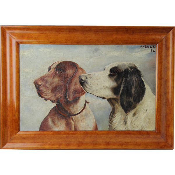 A Zola - Two Hound Dogs Painting Oil On Panel 1894
