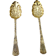 Pair Of Gilt Sterling Silver Berry Spoons, William Eaton, London, England, 1824/30.
