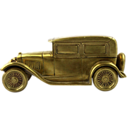 Art Deco Heavy Brass Car Form Cigarette Box, Germany, Ca 1930