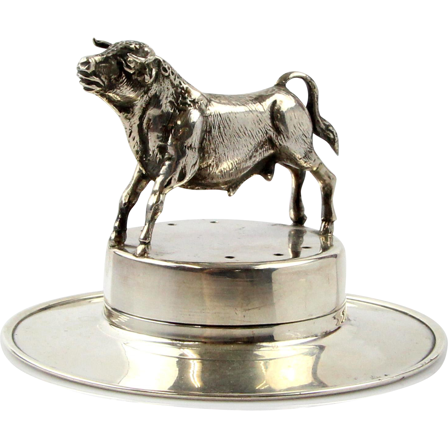 Novelty Silver Fighting Bull On A Spanish Hat Toothpick Holder, Spain, 1940's.