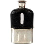 Victorian Sterling Silver Glass & Leather Hip Flask, Wright & Davies, London, 1877.