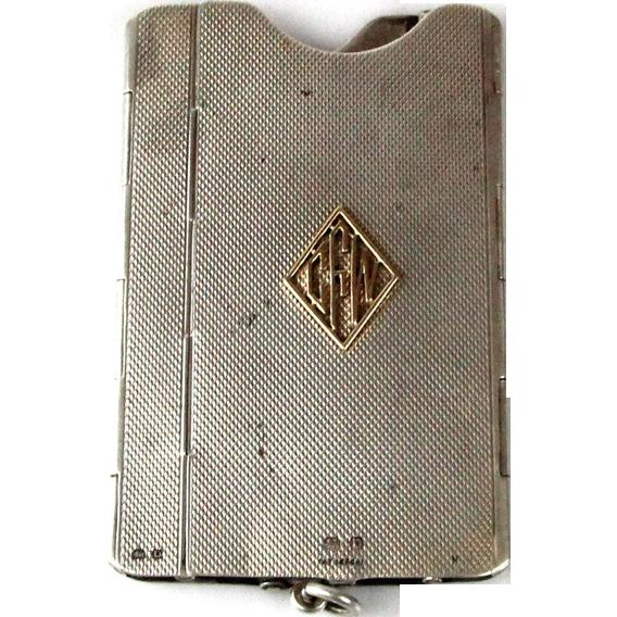 Novelty Art Deco Sterling Silver Sprung Card Case, Deakin & Francis, Birmingham, 1928.