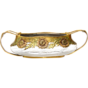 Art Nouveau Orivit Gilt Metal Mounted Glass Jardiniere Bowl, Cologne, Ca 1904.
