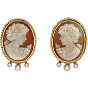 Pair of 14 Karat Yellow Gold, Coral, Cameo and CZ Earrings.