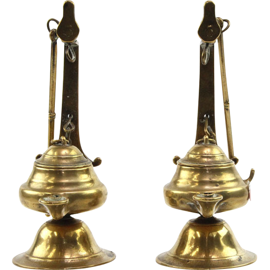 Unique Pair of Brass Hanging Aladdin Oil Lamps, Middle East, Ca 1900.
