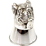 Novelty Sterling Silver Bulldog Stirrup Cup Vodka Tot.