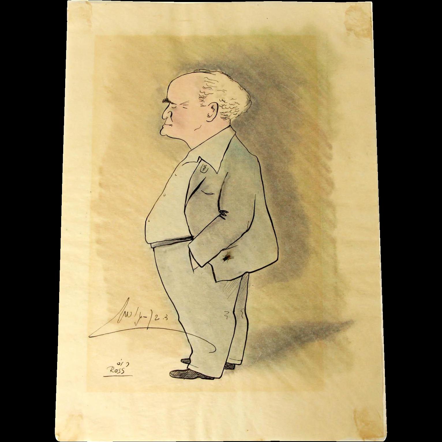 David Ben-Gurion Caricature by Joseph Ross, Signed by Ben-Gurion, Israel, 1950's.
