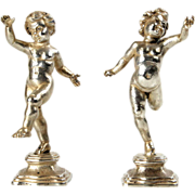 Buccellati Sterling Silver Pair of Figural Table Ornaments Sculptures, Milan, Italy, 20th Century.