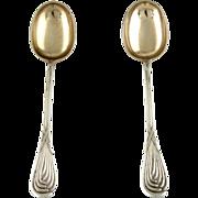 Danish Pair Of Silver Serving Spoons Copenhagen Denmark 1903