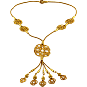 Gilt 999 Fine Silver Handmade Knitted and Braided Long Necklace