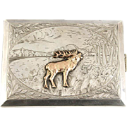 Silver Rectangular Deer Cigarette Case Germany Circa 1900.