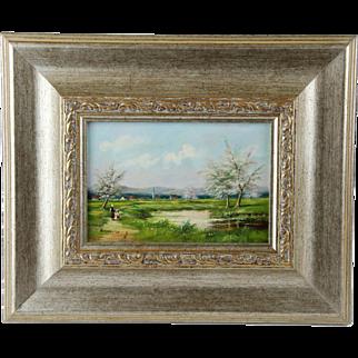 Rural Landscape Oil on Board Framed Signed Painting.