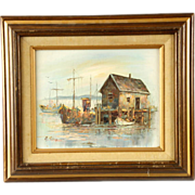 A Simpson Oil on Board Panel Boats at the Dock Painting Signed Framed