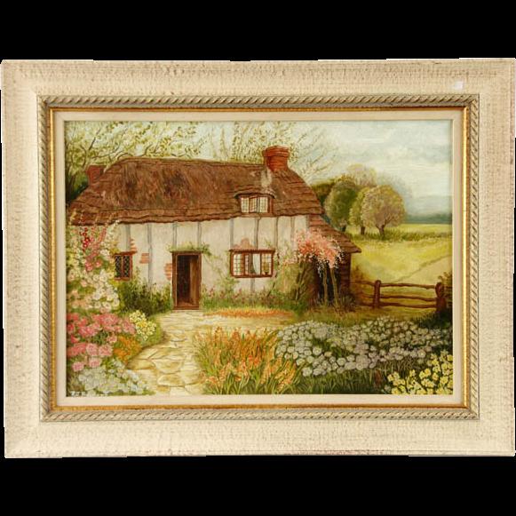 R.J. Barnett Oil on Canvas Rural Landscape Painting Signed Framed.