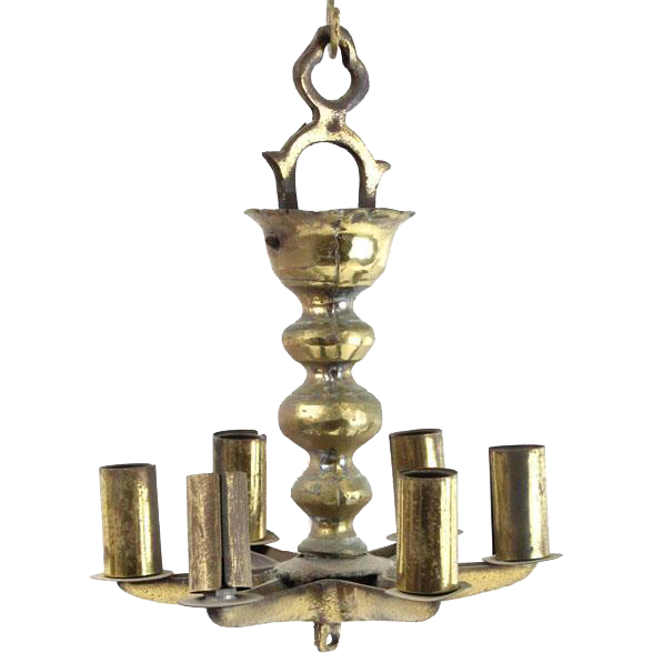 Antique Brass Hanging Sabbath Lamp Judenstern, Germany, 19th Century, Judaica.