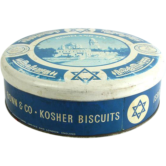 Vintage English Bonn & Co Kosher Biscuits Tin Box and Cover, Judaica.